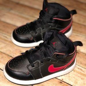 Jordan AJ 1 Mid- Black and Red